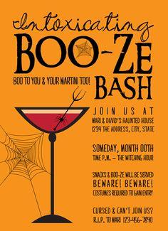 Boo-ze Bash - Halloween Party Invitations (Set of 25). $45.00, via Etsy.