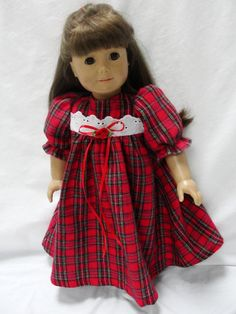 American Girl Doll Red Plaid Nightgown