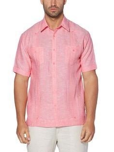 118c264648 100% Linen Short Sleeve 2 Pocket Cross Dye Guayabera