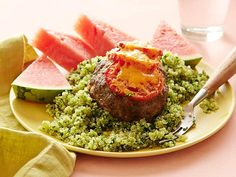 Get Cheesy Meatloaf with Green Quinoa Recipe from Food Network