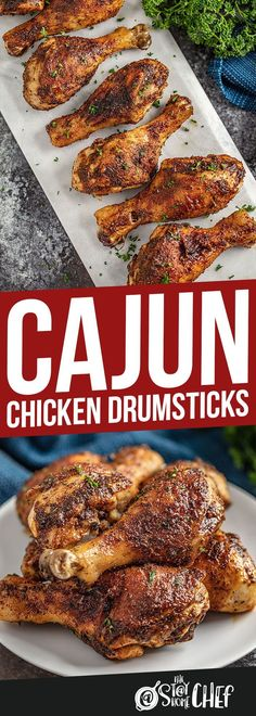 5 minutes of prep time is all that's needed to make these crispy-skinned Cajun Chicken Drumsticks. This recipe is always popular! Perfect for dinner or game day! #cajunchickendrumsticks #chicken #drumsticks Cajun Recipes, New Recipes, Crockpot Recipes, Dinner Recipes, Cooking Recipes, Healthy Recipes, Chicken Leg Recipes, Chicken Drumstick Recipes, Cajun Cooking