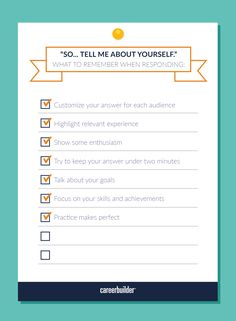 """""""Tell me about yourself"""" should be an easy question to answer ... but it often isn't. Here are some pointers for perfecting your response."""