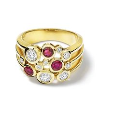 Cirkel Ruby and Diamond Yellow Gold Ring