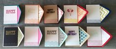 Box of 10 individual hand stamped and embossed Birthday Cards with matching envelopes and liners. These hand crafted cards are made in