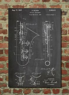 Saxophone Patent Wall Art Poster by PatentPrints on Etsy, $6.99