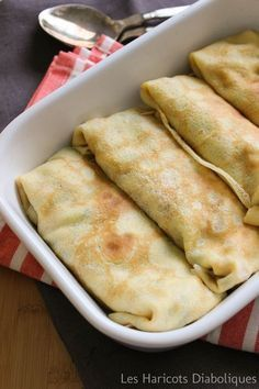 Pancakes stuffed with ham & mushrooms . - Miam miam :p - Asian Cooking, Healthy Cooking, Cooking Time, Cooking Recipes, Breakfast Crepes, Crepes And Waffles, Pancakes, Crepe Recipes, Brunch Recipes