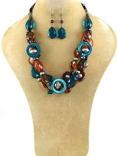 """Teal and brown stone necklace with matching fish hook earrings. Lead and Cadmium Free. 20""""  $19.95 shipped! We accept PayPal!"""