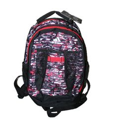 "ADIDAS ATKINS BACKPACK, Red Black Gray Camouflage CAMO, Book Bag, 5137289. ADIDAS CAMO ATKINS BACKPACK. Partial Camo / Camouflage Print. Colors: Shades of gray, red, black. Large Size. Approximate Dimension: 17"" x 12"" x 8"". 1800 cu. in."