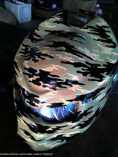 New Camouflage Design -  Follow us at facebook.com/CustomHelmets  #PredatorHelmet #Biker #Customhelmet
