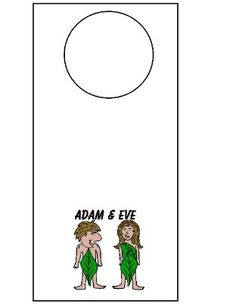 Adam and Eve doorknob hanger. Just print and cut out. Hang on doorknob.