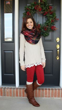 More cute red pants! Classy In The Classroom Winter Teacher Outfits, Cute Christmas Outfits, Fall Winter Outfits, Autumn Winter Fashion, Cute Outfits, Christmas Fun, Winter Style, Winter Clothes, Holiday Outfits