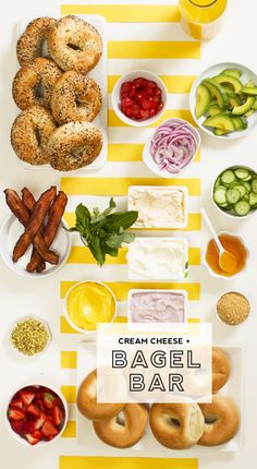 A bright, sunshiney bagel bar with all the fixins, like this one from is the absolute best way to wake up. Learn how to build a simply better cream cheese and bagel bar for your next brunch here. Bagel Bar, Brunch Recipes, Breakfast Recipes, Party Sandwiches, Wedding Reception Food, Lunch Menu, Mothers Day Brunch, Good Food, Fun Food