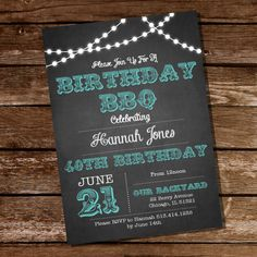 Chalkboard BBQ Birthday Invitation - 16th 20th 21st 25th 30th 40th 50th 60th birthday invitation - Instant Download + Edit with Adobe Reader...