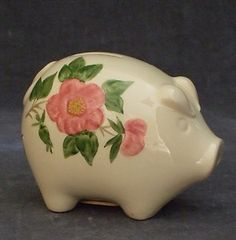 My dishes- Franciscan Desert Rose. The coveted piggy bank