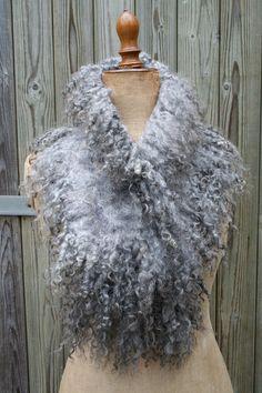 Stefanie van Binsbergen, Netherlands - Nuno felted scarf - natural Gotland curly…