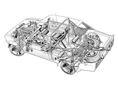 Fiat Abarth 131 Rally Corsa designed by Bertone - Illustration unattributed Rc Chassis, Fiat Abarth, Technical Drawing, Print Artist, Peugeot 205, Design Reference, Cool Artwork, Rally, Illustrators