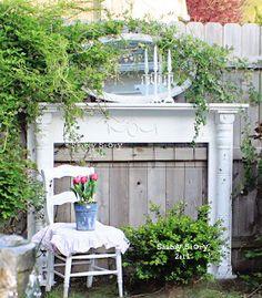Fireplace mantel garden art