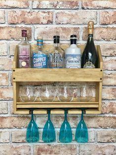 Drinks rack home bar cocktail cabinet rustic wall mounted image 8 Modern Bar Cabinet, Gin Bar, Vodka Bar, Vodka Cocktail, Wine Bottle Rack, Wine Rack, Wine Bottles, Bar Shelves, Shelf