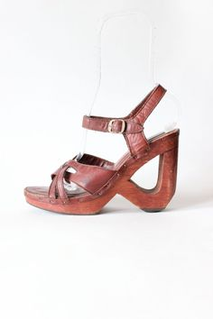 Vintage 1970s Boho Qualicraft Brown Leather & Wood Wedge Sandals