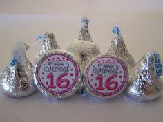 SWEET 16 Hershey Kisses  108 selfadvesive by Beyonddiapercakes, $7.99
