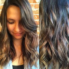 Beautiful dark base with toffee and caramel hand painted pieces give this beauty a fresh summer outlook for some fun travel plans! Finished this tousled look with my all time favorite dry texture spray! #paulmitchellus #studiobesalon #sombre #summerhair #oribeobsessed
