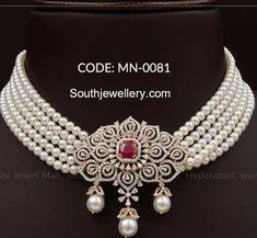 Five line south sea pearl choker with diamond pendant by Mangatrai Neeraj jewellers. south sea pearls choker designs, pearls choker with pendant Pearl Necklace Designs, Pearl Choker Necklace, Pearl Jewelry, Pearl Necklace Wedding, Geek Jewelry, Stud Earrings, Women's Jewelry, Jewelry Stores, Diamond Necklace Set
