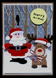 Die Cut Christmas Cards, Christmas Card Crafts, Kids Christmas, Handmade Christmas, Father Xmas, Santa And His Reindeer, Marianne Design, Card Making Inspiration, Winter Cards