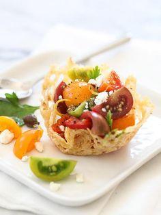Heirloom Tomato Frico Cups / FoodieCrush.com