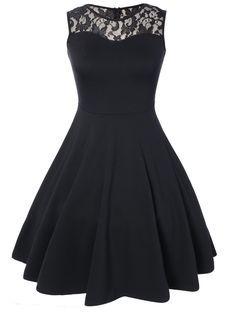 Black Dresses   Black Lace Pleated Sleeveless A Line Dress - Gamiss