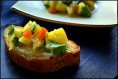 Smoked Fontina Crostini with  Tomatillo and Pineapple Salsa @Magicalspice/The Ardent Epicure