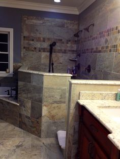 Roomy master shower Master Bathroom Shower, Shower Surround, Dream Wall, Dream Rooms, Home Decor Inspiration, Home Renovation, New Homes, Master Baths, Bath Ideas