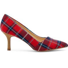 Sole Society Angelica Pointed Toe Pump ($49) ❤ liked on Polyvore featuring shoes, pumps, navy red plaid, red pumps, navy pumps, plaid pumps, slip-on shoes and pointed-toe pumps