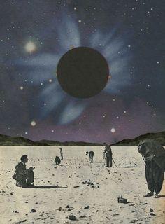 Black  Moon, Collage Art, Vintage