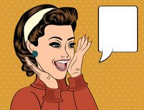 Pop art retro women in comics style that gossip Royalty Free Stock Image