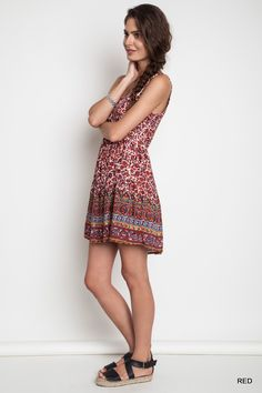 Floral Tank Dress - Red