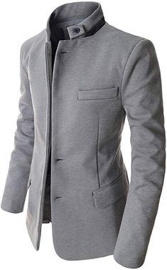 4c9ea7aed61a Showblanc (SBDJK8) Man s Slim FIt Chinese Collar 2 button Casual Style  Blazer GRAY US