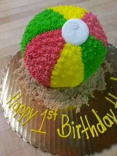 Special order: beachball smash cake. That's going to be one happy 1 year old.