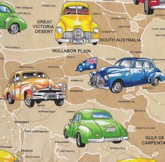 Holden Cars on Beige Australian Map Quilt Fabric - Find a Fabric. Available to purchase in Fat Quarters, Half Metre, 3/4 Metre, 1 Metre and so on.