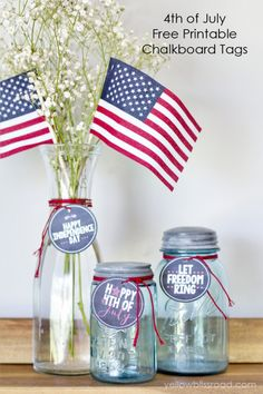 Free Printable Fourth of July Chalkboard Tags