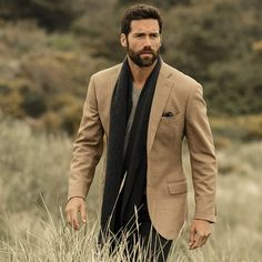 camel colored wool jacket. gray v-neck tee. charcoal gray pants/scarf/pocket square. clean. classic. earth tones. southern. my. style.