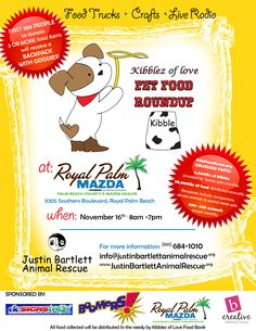 1st Annual Pet Food Round Up presented by Kibblez of Love and Justin Bartlett Animal Rescue. We are collecting pet food and monetary donations for the hundreds of animals we support. Come out and show your support. We can not so it without YOU!