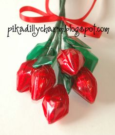 This is a fun and simple way to make roses!          What you'll need:   -Red & Green Cellophane  -Floral wire, 20 Gauge, 18 inch long  -F...