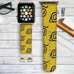 Konoha Naruto Shippuden Custom Apple Watch Band Leather Strap Wrist Band Replacement 38mm 42mm