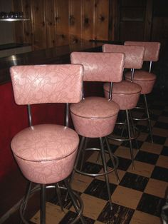 Pink barstools -  they turn 360 degrees, vinyl is perfect!  - weed30