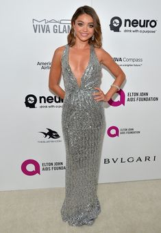 Sarah Hyland wearing a Blumarine gown and Lorraine Schwartz jewels at Elton John's AIDS Foundation 2016 Oscars viewing party.