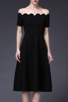 Cys Black Off The Shoulder Scalloped A Line Dress | Midi Dresses at DEZZAL Click on picture to purchase!