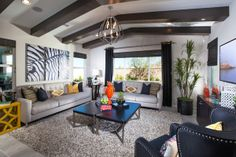I like the palette, the chandelier, and th ebeams Woodside Homes - Aspen at Sycamore Creek ~  Plan 1
