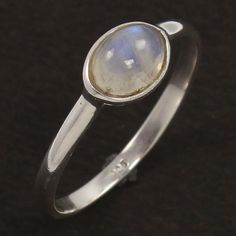 925 Sterling Silver Delicate Small Ring Size US 6 Natural RAINBOW MOONSTONE Gems #Unbranded