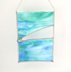 Hanging Stained Glass Window Panel  Abstract Art by Nostalgianmore, $85.00