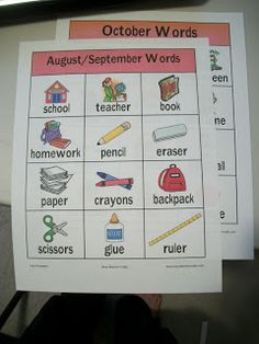 Writing Center: Free Printable monthly word lists with pictures, Follow link to Print